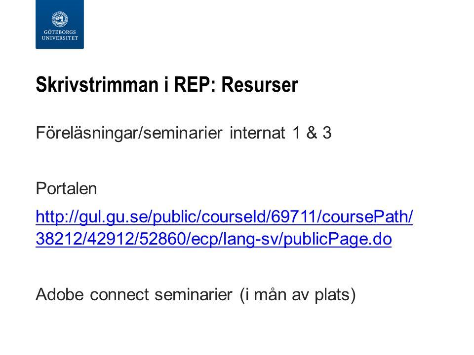 Skrivstrimman i REP: Resurser Föreläsningar/seminarier internat 1 & 3 Portalen http://gul.gu.se/public/courseId/69711/coursePath/ 38212/42912/52860/ec