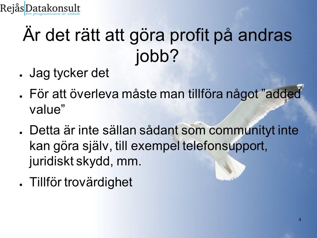 """4 Är det rätt att göra profit på andras jobb? ● Jag tycker det ● För att överleva måste man tillföra något """"added value"""" ● Detta är inte sällan sådant"""