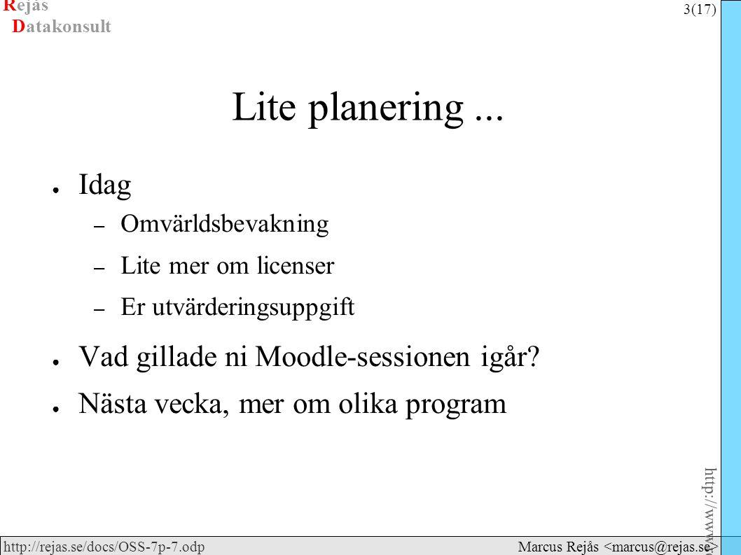 Rejås 3 (17) http://www.rejas.se – Fri programvara är enkelt http://rejas.se/docs/OSS-7p-7.odp Datakonsult Marcus Rejås Lite planering... ● Idag – Omv