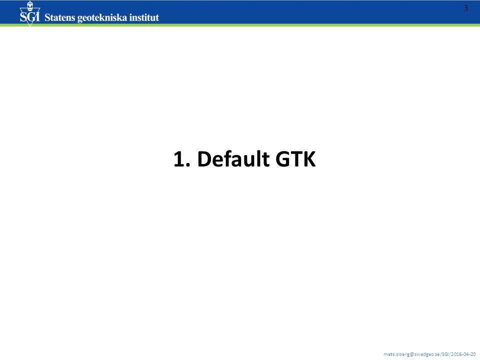 mats.oberg@swedgeo.se/SGI/2016-04-20 4 Jordlager - default GTK – såsom SGU jordartkartan är utan att man har någon alls kännedom om geotekniska förhållanden eller jordlagerföljder *) samt beräknat förstärkningsdjup *) programmet innehåller likväl schablonlagerföljder framtagna av SGI's geotekniker