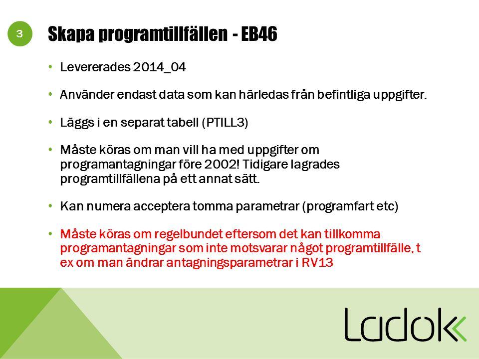3 Skapa programtillfällen - EB46 Levererades 2014_04 Använder endast data som kan härledas från befintliga uppgifter.