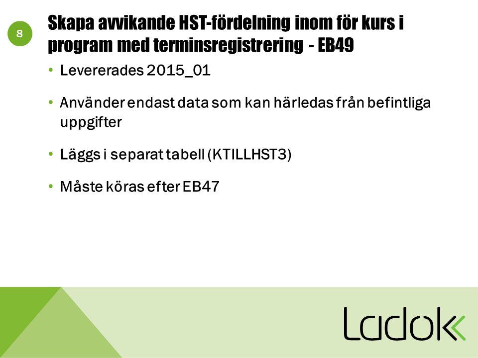 8 Skapa avvikande HST-fördelning inom för kurs i program med terminsregistrering - EB49 Levererades 2015_01 Använder endast data som kan härledas från befintliga uppgifter Läggs i separat tabell (KTILLHST3) Måste köras efter EB47