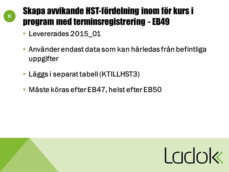 8 Skapa avvikande HST-fördelning inom för kurs i program med terminsregistrering - EB49 Levererades 2015_01 Använder endast data som kan härledas från befintliga uppgifter Läggs i separat tabell (KTILLHST3) Måste köras efter EB47, helst efter EB50