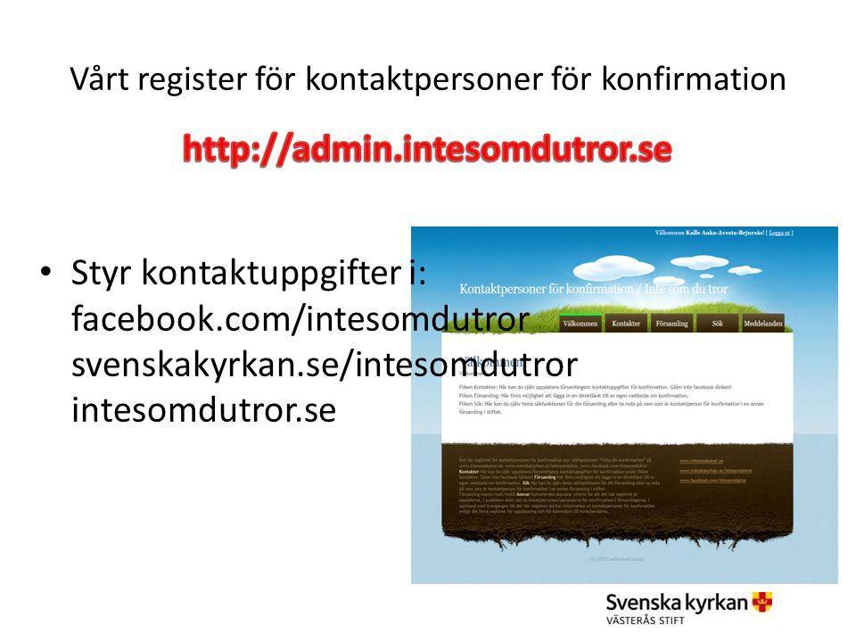 Styr kontaktuppgifter i: facebook.com/intesomdutror svenskakyrkan.se/intesomdutror intesomdutror.se
