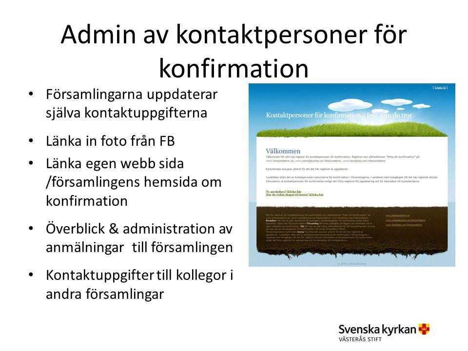 Admin av kontaktpersoner för konfirmation Församlingarna uppdaterar själva kontaktuppgifterna Länka in foto från FB Länka egen webb sida /församlingen