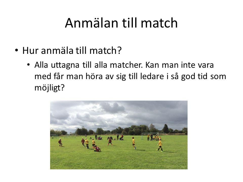 Anmälan till match Hur anmäla till match. Alla uttagna till alla matcher.
