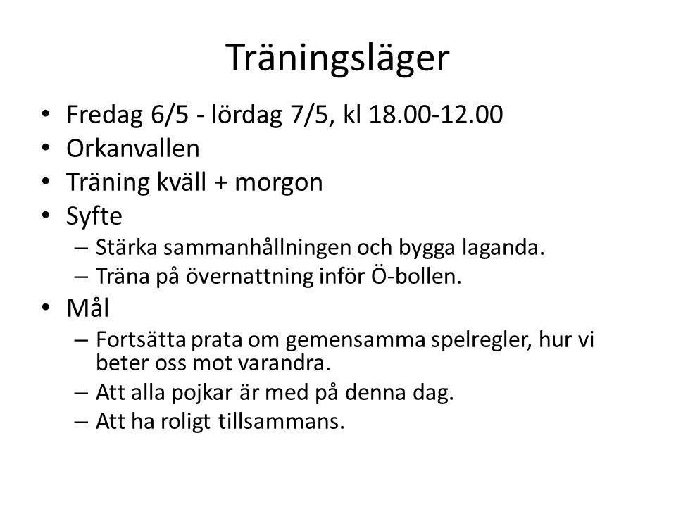 Träningsläger Fredag 6/5 - lördag 7/5, kl 18.00-12.00 Orkanvallen Träning kväll + morgon Syfte – Stärka sammanhållningen och bygga laganda.