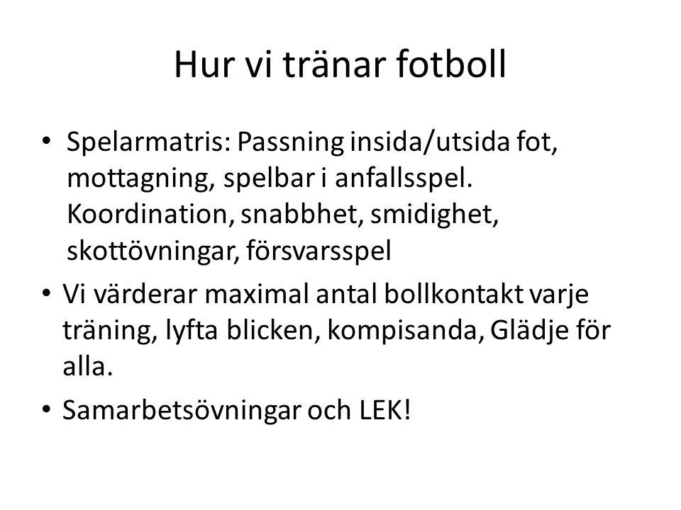 Hur vi tränar fotboll Spelarmatris: Passning insida/utsida fot, mottagning, spelbar i anfallsspel.