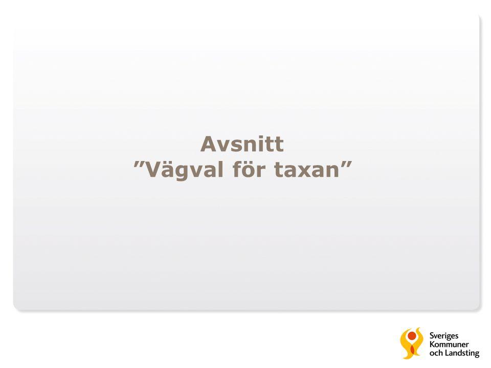 Avsnitt Vägval för taxan
