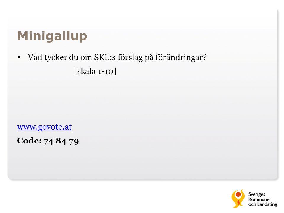 Minigallup  Vad tycker du om SKL:s förslag på förändringar.