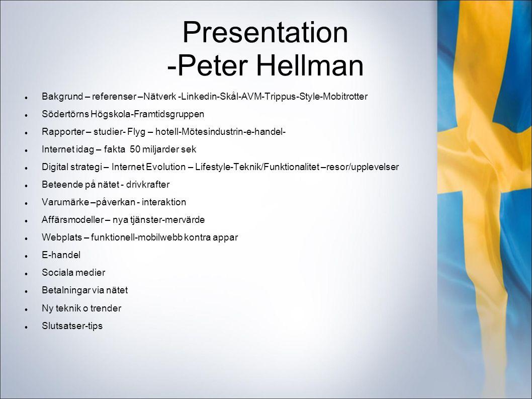 Presentation -Peter Hellman Bakgrund – referenser –Nätverk -Linkedin-Skål-AVM-Trippus-Style-Mobitrotter Södertörns Högskola-Framtidsgruppen Rapporter – studier- Flyg – hotell-Mötesindustrin-e-handel- Internet idag – fakta 50 miljarder sek Digital strategi – Internet Evolution – Lifestyle-Teknik/Funktionalitet –resor/upplevelser Beteende på nätet - drivkrafter Varumärke –påverkan - interaktion Affärsmodeller – nya tjänster-mervärde Webplats – funktionell-mobilwebb kontra appar E-handel Sociala medier Betalningar via nätet Ny teknik o trender Slutsatser-tips