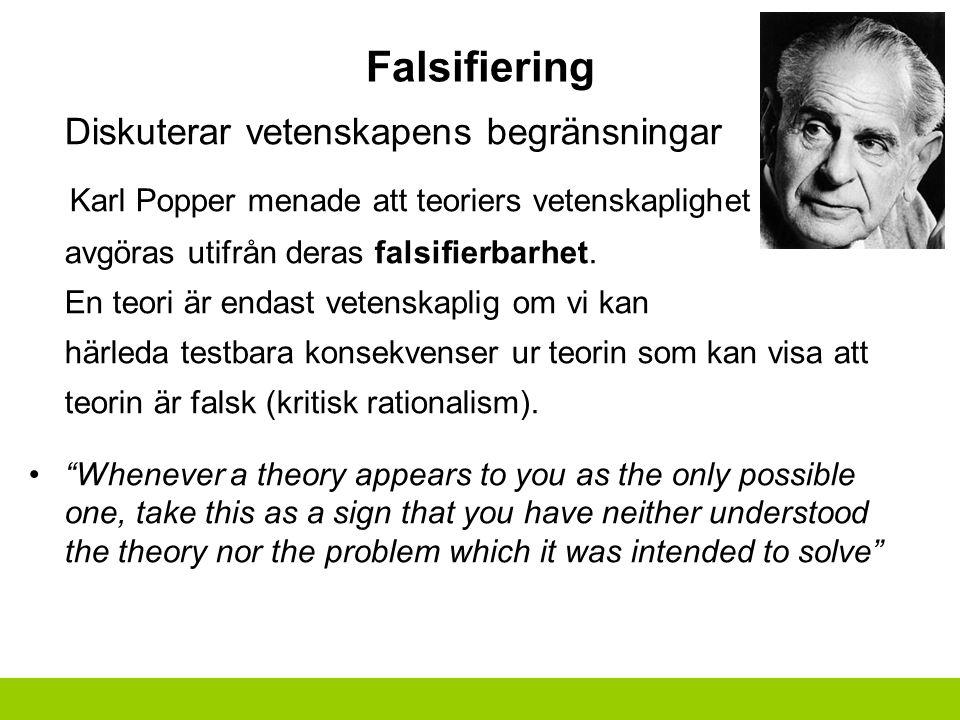 Falsifiering Diskuterar vetenskapens begränsningar Karl Popper menade att teoriers vetenskaplighet måste avgöras utifrån deras falsifierbarhet.