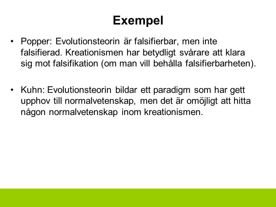 Exempel Popper: Evolutionsteorin är falsifierbar, men inte falsifierad. Kreationismen har betydligt svårare att klara sig mot falsifikation (om man vi