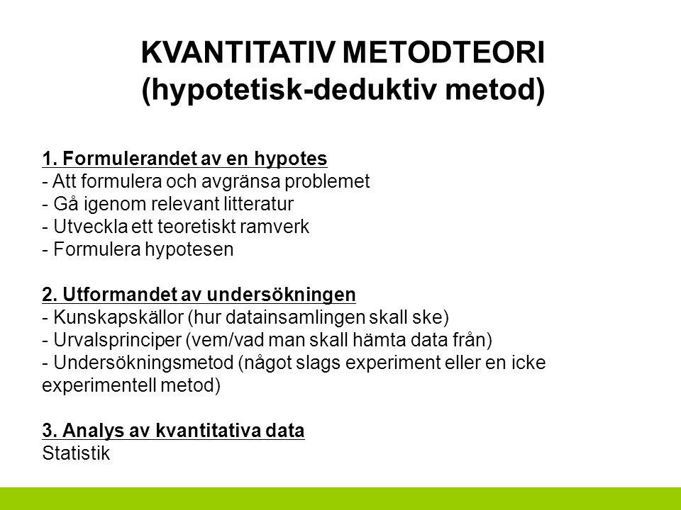 KVANTITATIV METODTEORI (hypotetisk-deduktiv metod) 1. Formulerandet av en hypotes - Att formulera och avgränsa problemet - Gå igenom relevant litterat