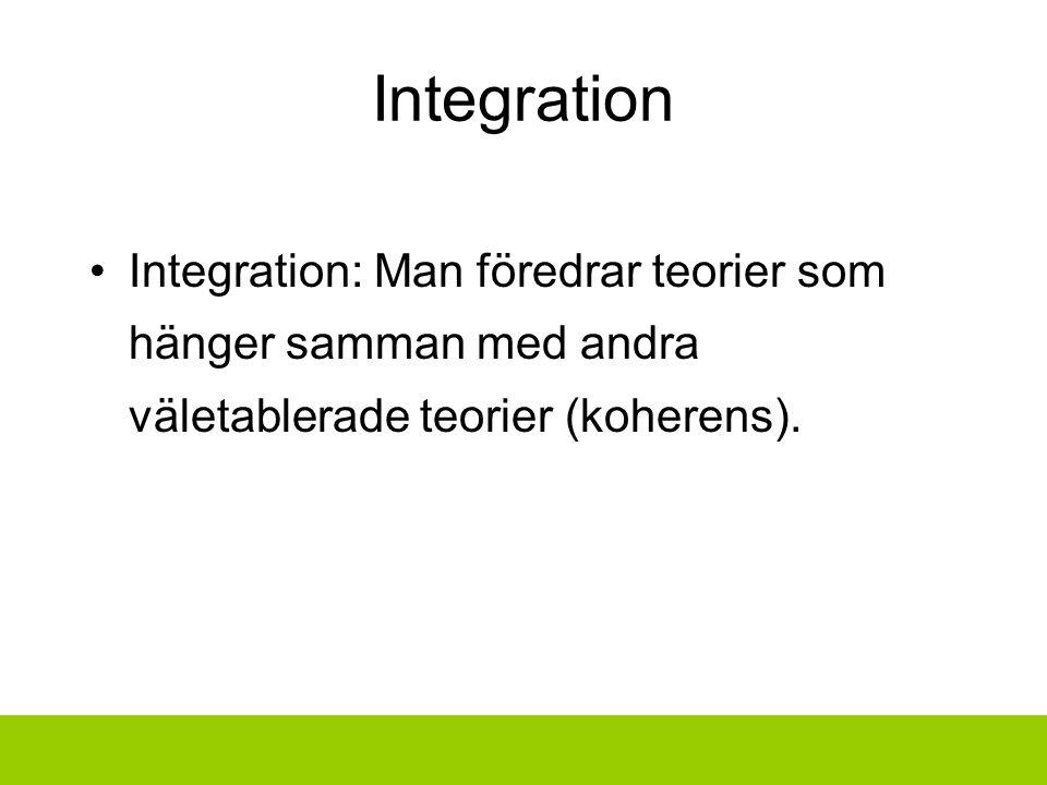 Integration Integration: Man föredrar teorier som hänger samman med andra väletablerade teorier (koherens).