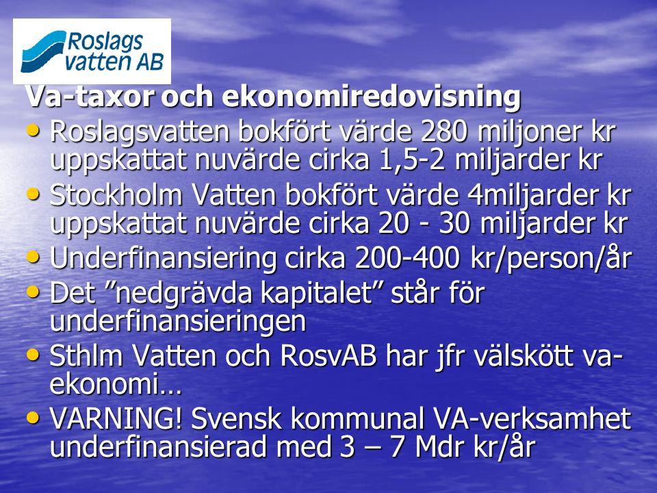Va-taxor och ekonomiredovisning Roslagsvatten bokfört värde 280 miljoner kr uppskattat nuvärde cirka 1,5-2 miljarder kr Roslagsvatten bokfört värde 28