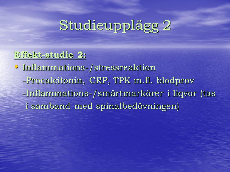 Studieupplägg 2 Effekt-studie 2: Inflammations-/stressreaktion Inflammations-/stressreaktion -Procalcitonin, CRP, TPK m.fl.