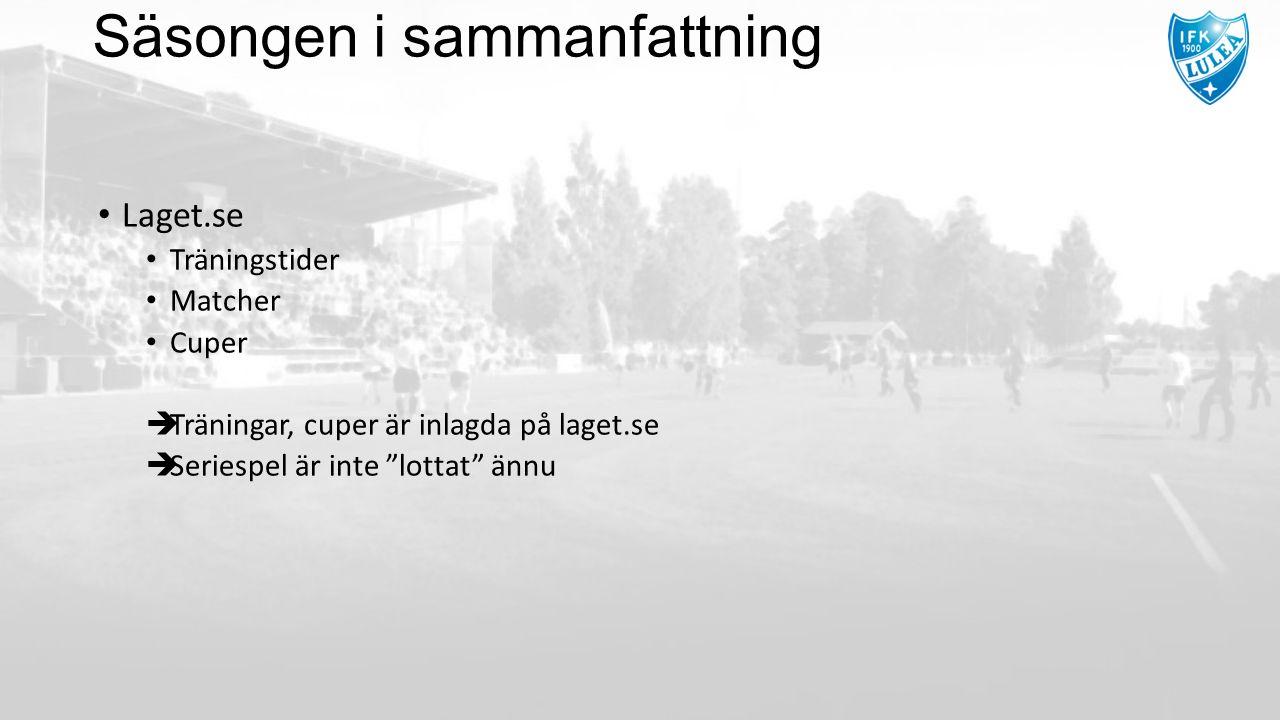 """Säsongen i sammanfattning Laget.se Träningstider Matcher Cuper  Träningar, cuper är inlagda på laget.se  Seriespel är inte """"lottat"""" ännu"""