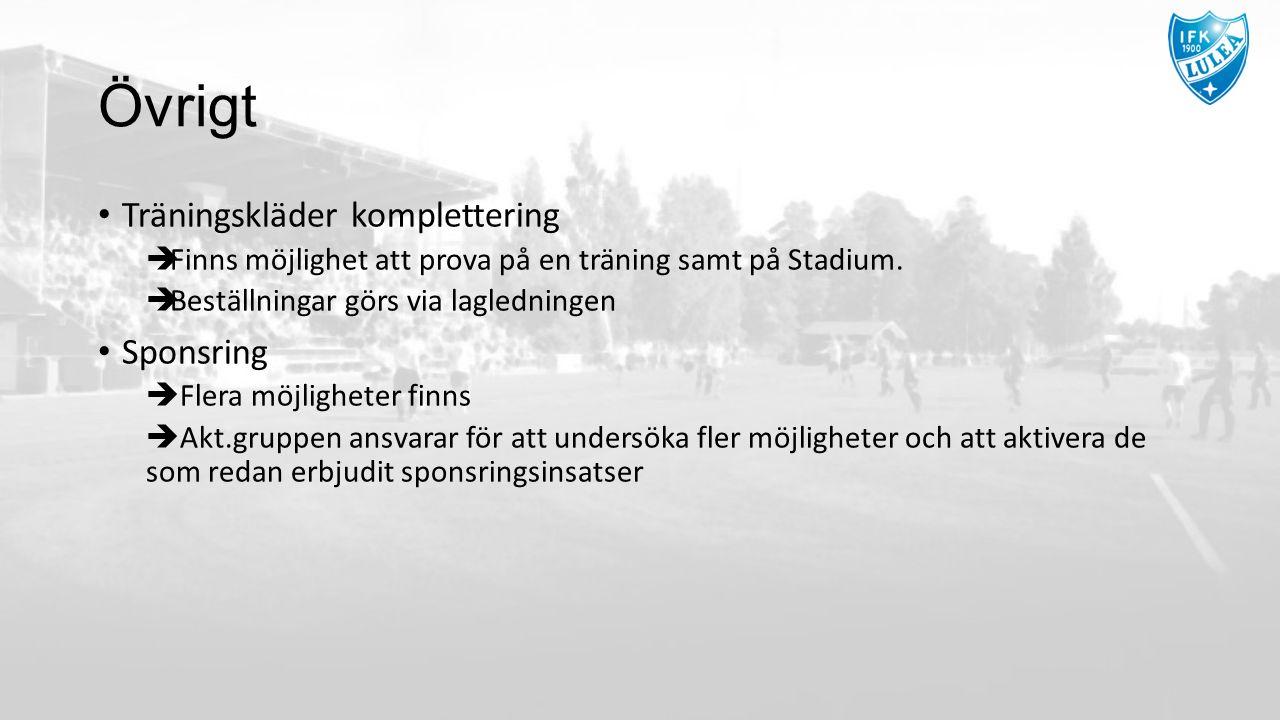 Övrigt Träningskläder komplettering  Finns möjlighet att prova på en träning samt på Stadium.  Beställningar görs via lagledningen Sponsring  Flera