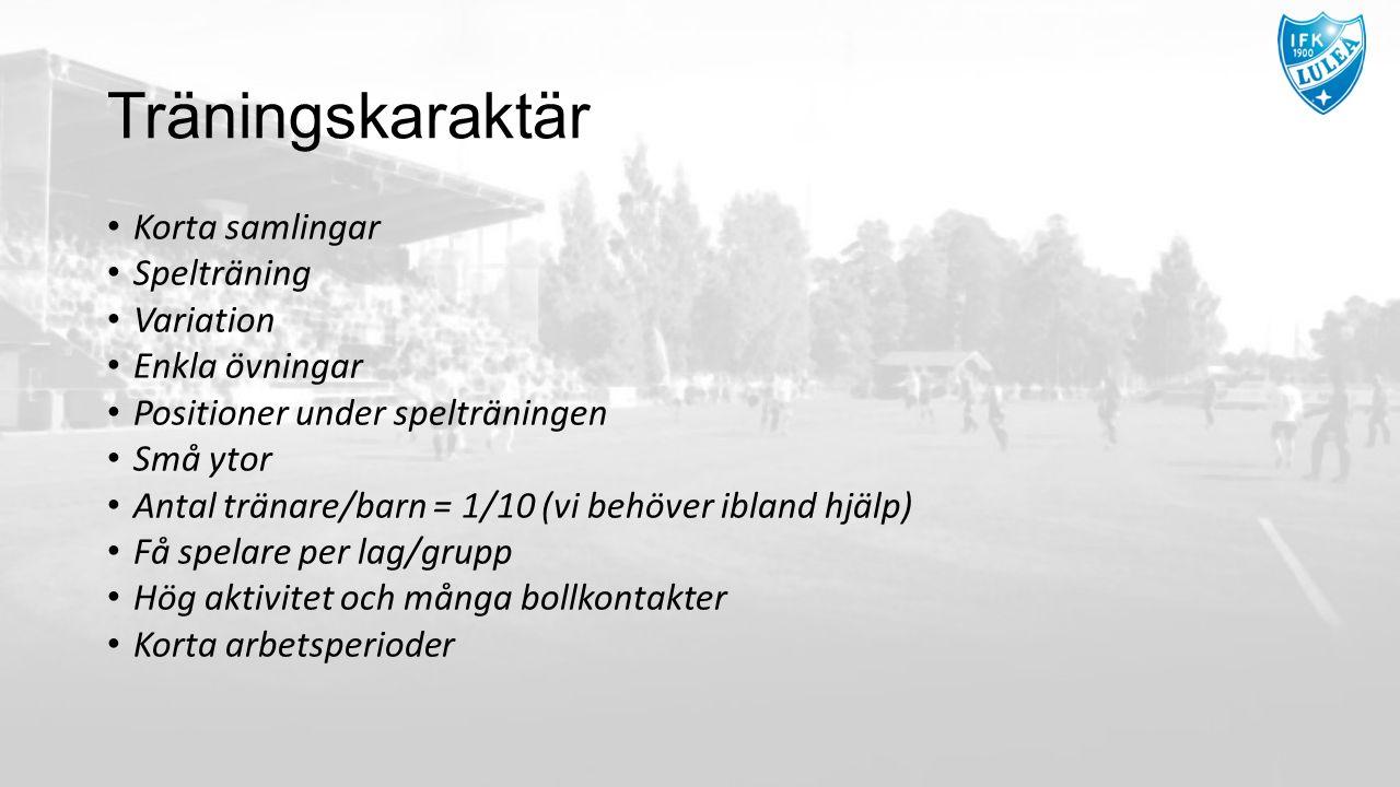 Träningskaraktär Korta samlingar Spelträning Variation Enkla övningar Positioner under spelträningen Små ytor Antal tränare/barn = 1/10 (vi behöver ib