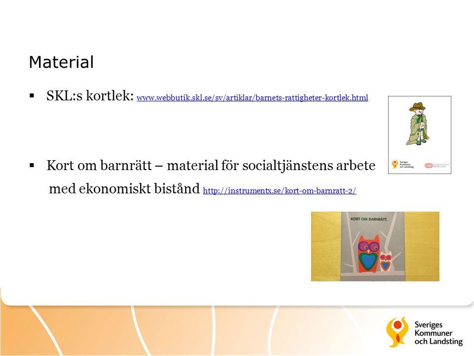 Material  SKL:s kortlek: www.webbutik.skl.se/sv/artiklar/barnets-rattigheter-kortlek.html www.webbutik.skl.se/sv/artiklar/barnets-rattigheter-kortlek.html  Kort om barnrätt – material för socialtjänstens arbete med ekonomiskt bistånd http://instrumentx.se/kort-om-barnratt-2/ http://instrumentx.se/kort-om-barnratt-2/