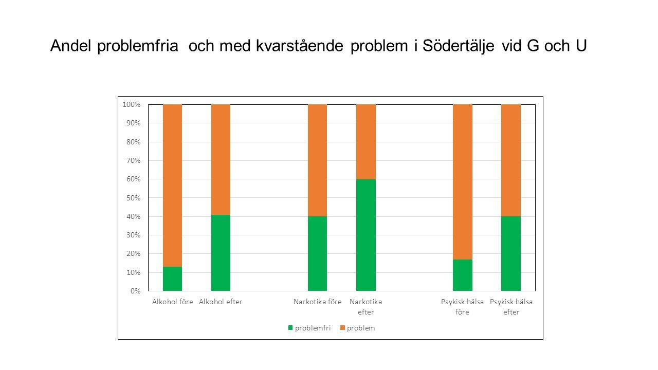 Andel problemfria och med kvarstående problem i Södertälje vid G och U
