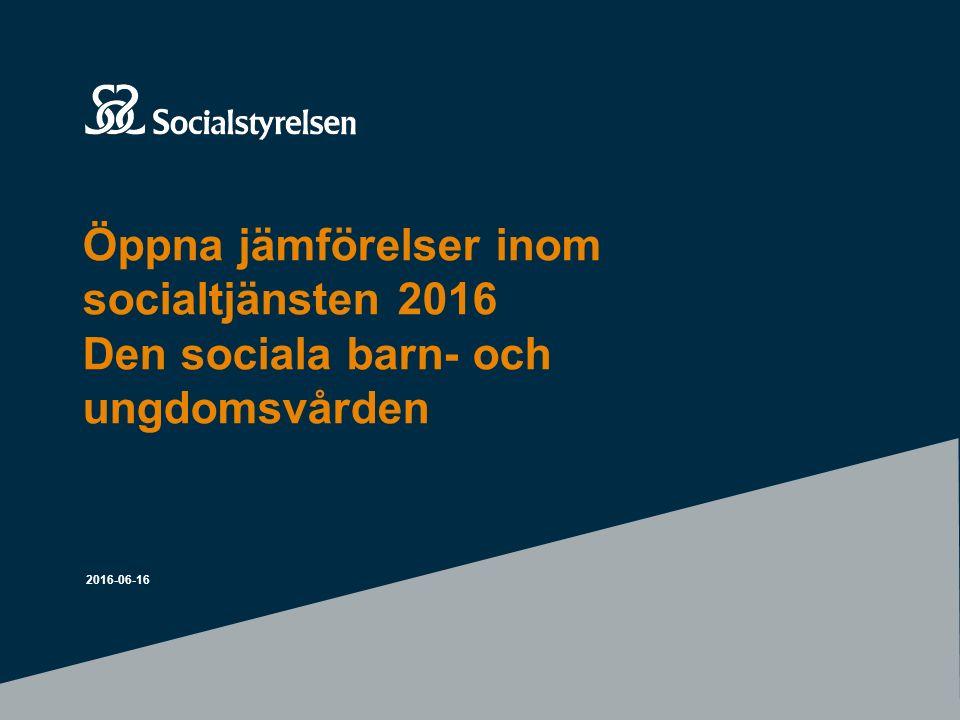 Öppna jämförelser inom socialtjänsten 2016 Den sociala barn- och ungdomsvården 2016-06-16
