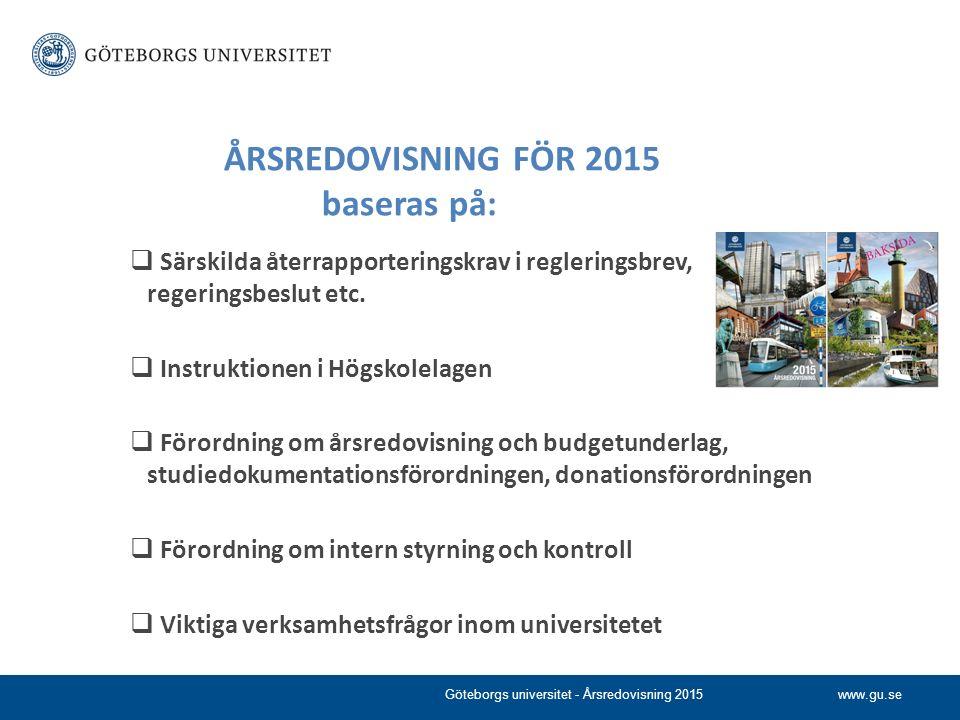 www.gu.se ÅRSREDOVISNING FÖR 2015 baseras på:  Särskilda återrapporteringskrav i regleringsbrev, regeringsbeslut etc.  Instruktionen i Högskolelagen