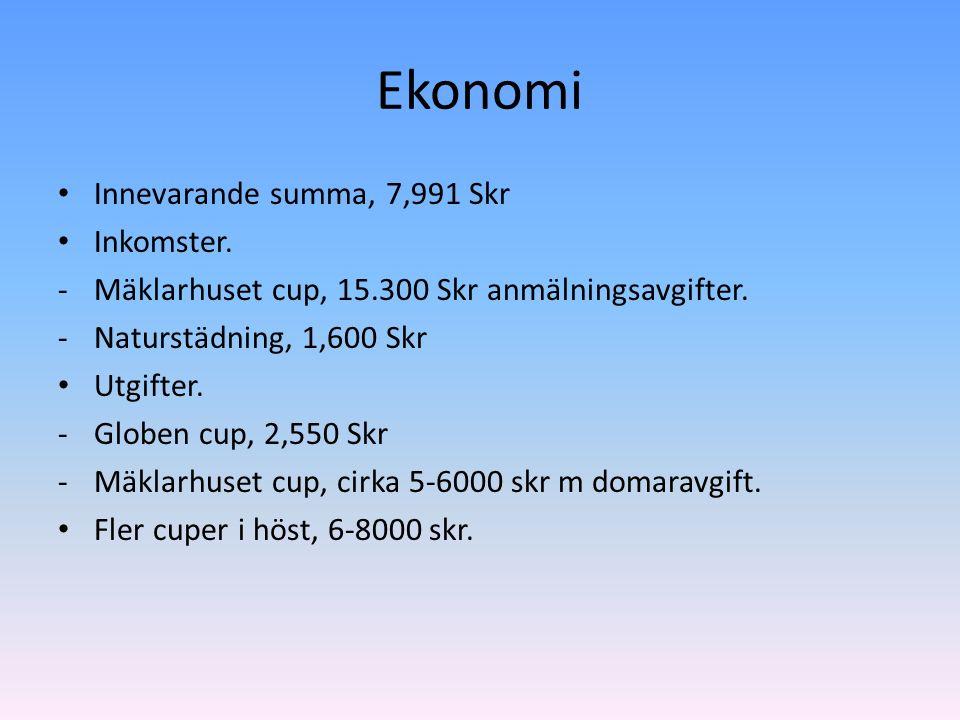 Ekonomi Innevarande summa, 7,991 Skr Inkomster. -Mäklarhuset cup, 15.300 Skr anmälningsavgifter.