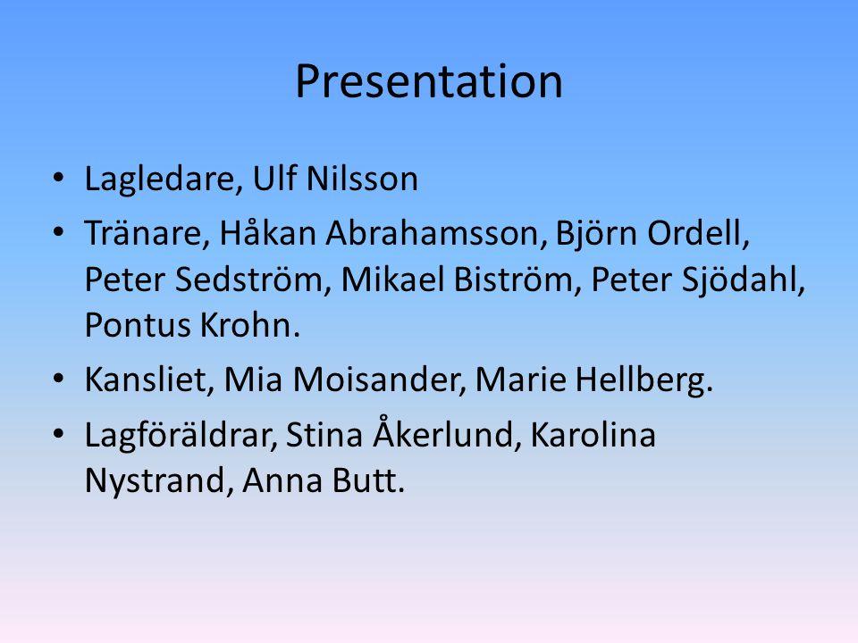 Presentation Lagledare, Ulf Nilsson Tränare, Håkan Abrahamsson, Björn Ordell, Peter Sedström, Mikael Biström, Peter Sjödahl, Pontus Krohn.