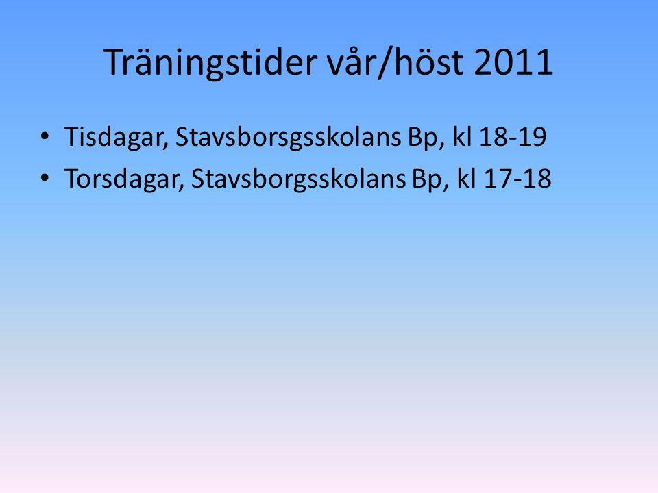 Träningstider vår/höst 2011 Tisdagar, Stavsborsgsskolans Bp, kl 18-19 Torsdagar, Stavsborgsskolans Bp, kl 17-18