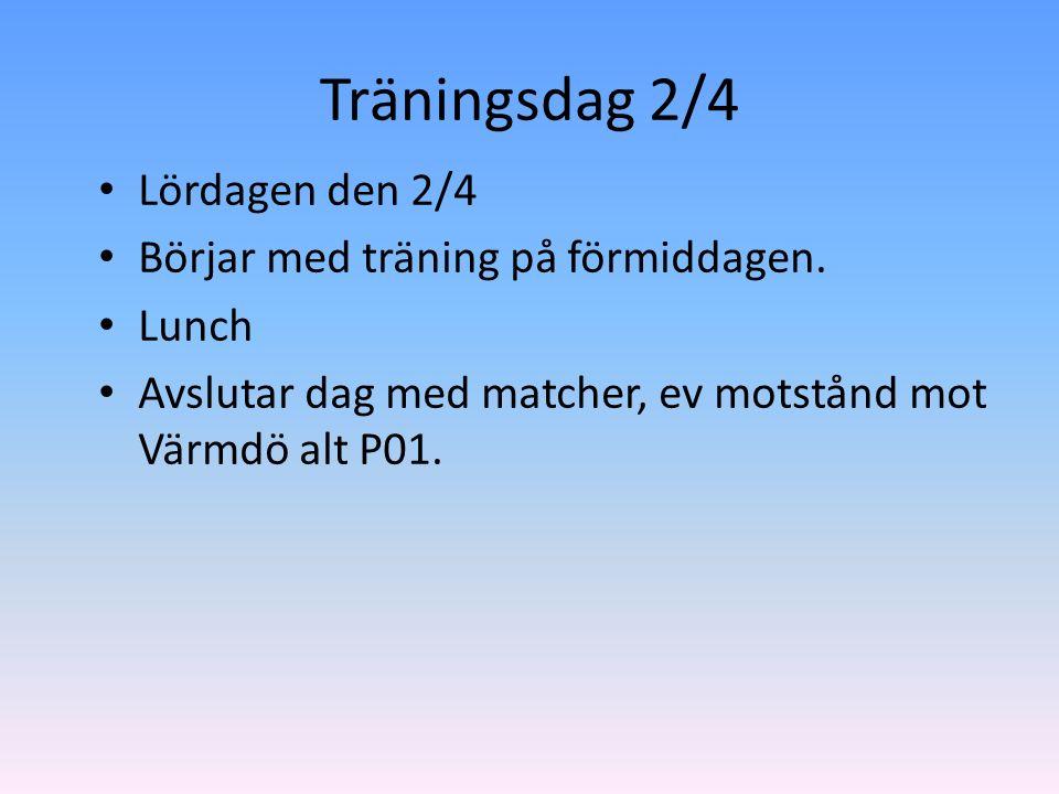 Träningsdag 2/4 Lördagen den 2/4 Börjar med träning på förmiddagen.