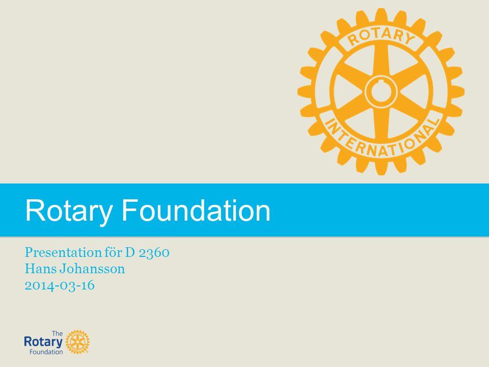 Rotary Foundation Presentation för D 2360 Hans Johansson 2014-03-16
