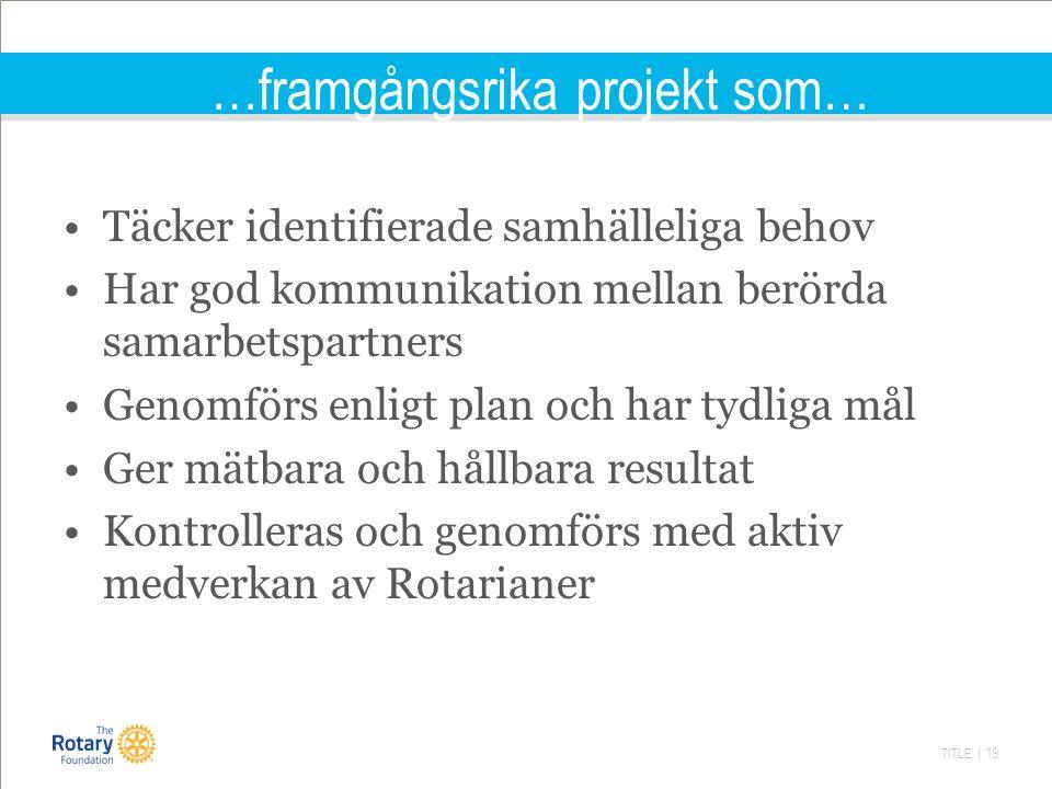 TITLE | 19 …framgångsrika projekt som… Täcker identifierade samhälleliga behov Har god kommunikation mellan berörda samarbetspartners Genomförs enligt plan och har tydliga mål Ger mätbara och hållbara resultat Kontrolleras och genomförs med aktiv medverkan av Rotarianer