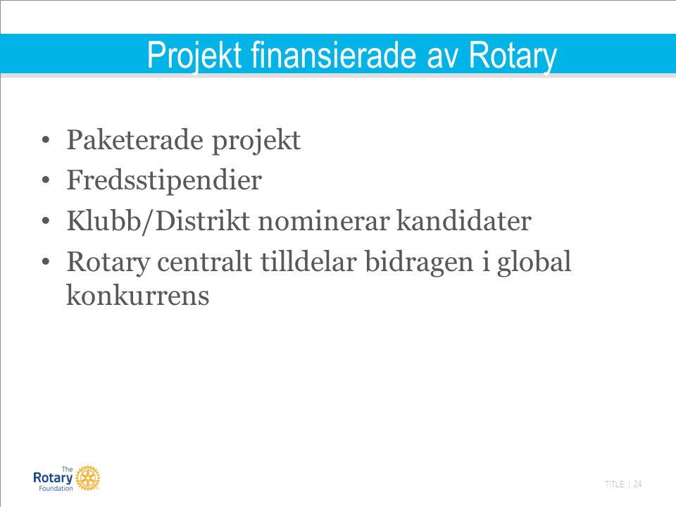 TITLE | 24 Projekt finansierade av Rotary Paketerade projekt Fredsstipendier Klubb/Distrikt nominerar kandidater Rotary centralt tilldelar bidragen i global konkurrens