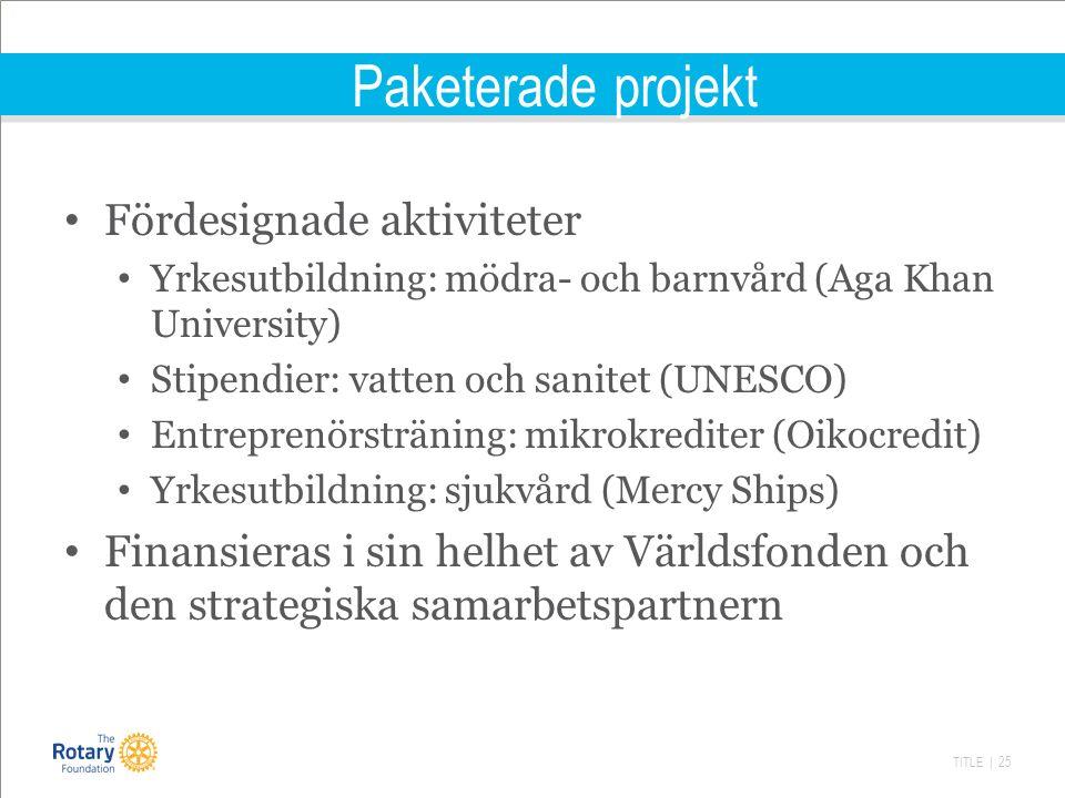 TITLE | 25 Paketerade projekt Fördesignade aktiviteter Yrkesutbildning: mödra- och barnvård (Aga Khan University) Stipendier: vatten och sanitet (UNESCO) Entreprenörsträning: mikrokrediter (Oikocredit) Yrkesutbildning: sjukvård (Mercy Ships) Finansieras i sin helhet av Världsfonden och den strategiska samarbetspartnern