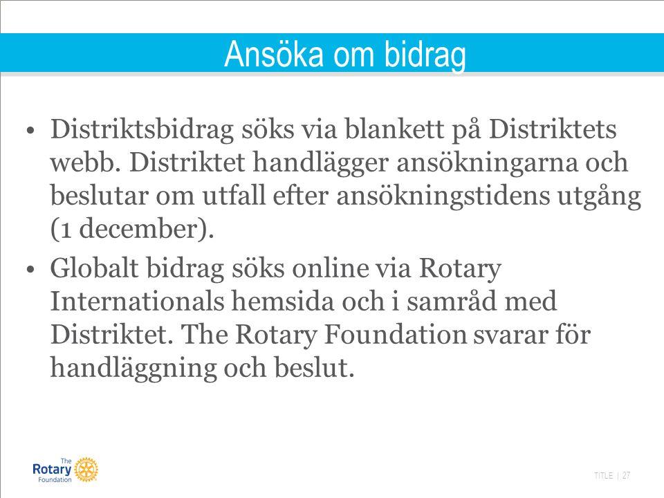 TITLE | 27 Ansöka om bidrag Distriktsbidrag söks via blankett på Distriktets webb.