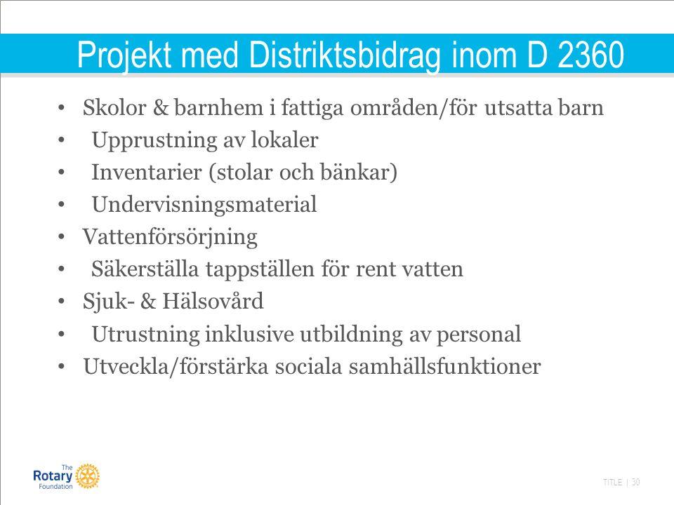 TITLE | 30 Projekt med Distriktsbidrag inom D 2360 Skolor & barnhem i fattiga områden/för utsatta barn Upprustning av lokaler Inventarier (stolar och bänkar) Undervisningsmaterial Vattenförsörjning Säkerställa tappställen för rent vatten Sjuk- & Hälsovård Utrustning inklusive utbildning av personal Utveckla/förstärka sociala samhällsfunktioner