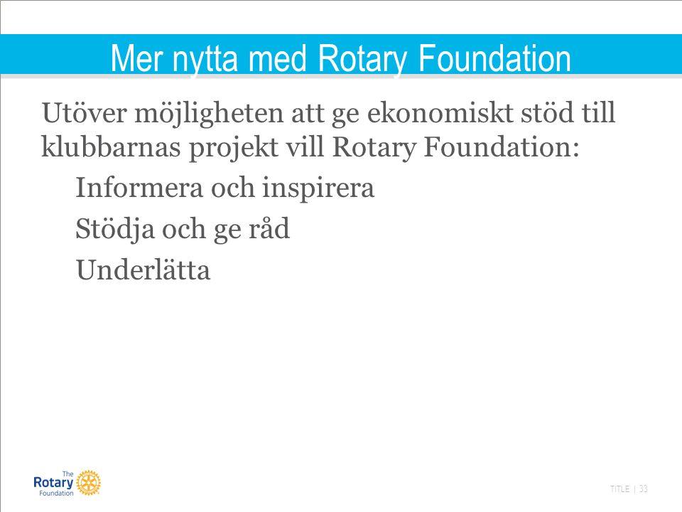 TITLE | 33 Mer nytta med Rotary Foundation Utöver möjligheten att ge ekonomiskt stöd till klubbarnas projekt vill Rotary Foundation: Informera och inspirera Stödja och ge råd Underlätta