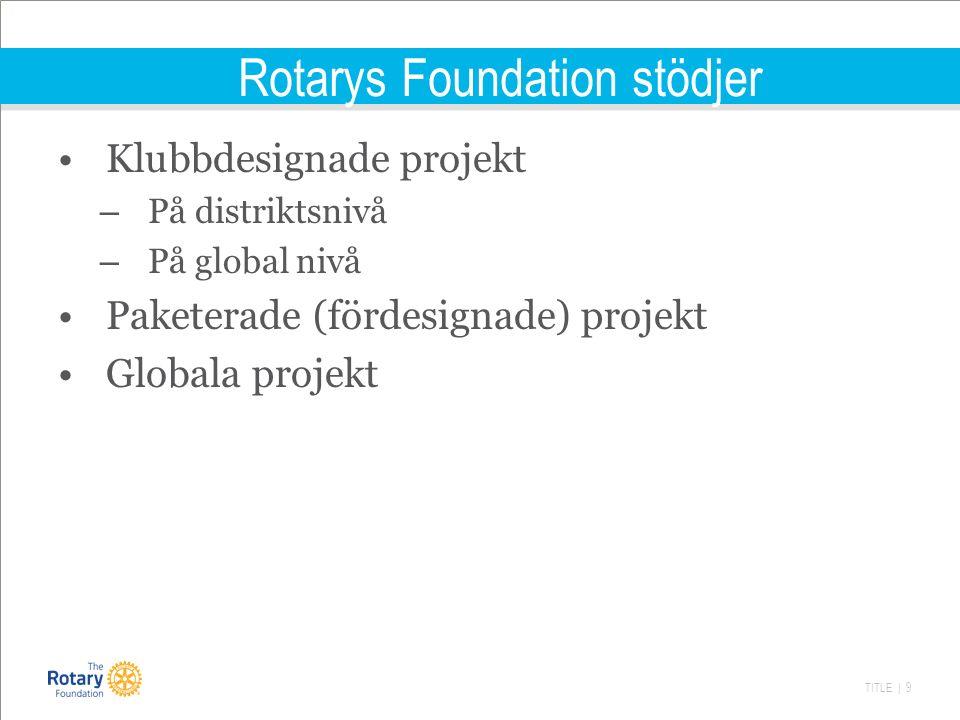 TITLE | 9 Rotarys Foundation stödjer Klubbdesignade projekt – På distriktsnivå – På global nivå Paketerade (fördesignade) projekt Globala projekt