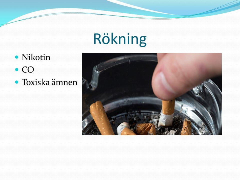Rökning Nikotin CO Toxiska ämnen