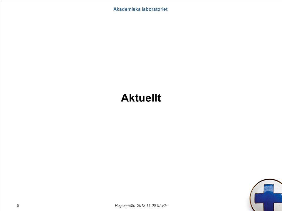 Akademiska laboratoriet Regionmöte 2012-11-06-07.KF6 Aktuellt