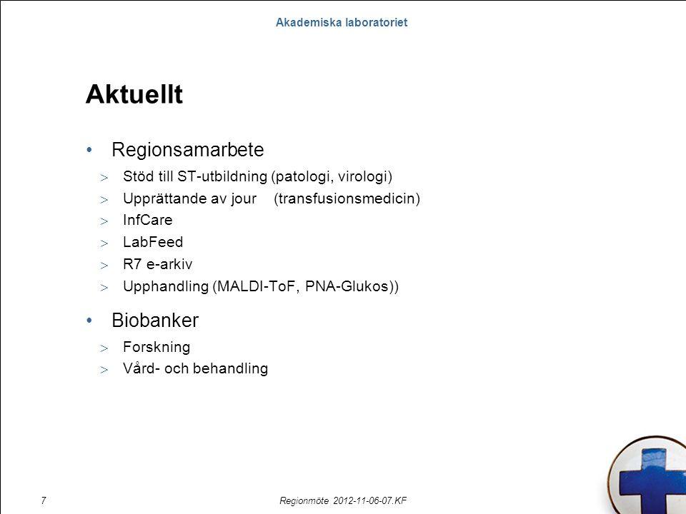 Akademiska laboratoriet Regionmöte 2012-11-06-07.KF7 Aktuellt Regionsamarbete  Stöd till ST-utbildning (patologi, virologi)  Upprättande av jour (tr
