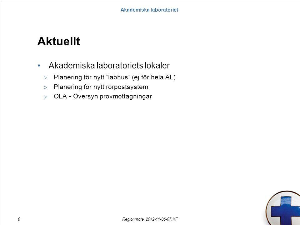 """Akademiska laboratoriet Regionmöte 2012-11-06-07.KF8 Aktuellt Akademiska laboratoriets lokaler  Planering för nytt """"labhus"""" (ej för hela AL)  Planer"""