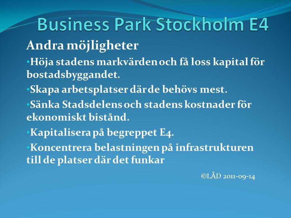 Andra möjligheter Höja stadens markvärden och få loss kapital för bostadsbyggandet.