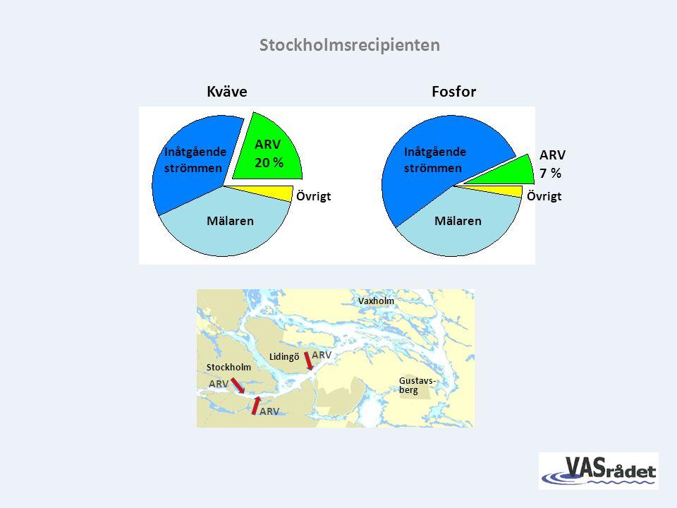 KväveFosfor Stockholmsrecipienten ARV 7 % ARV 20 % Inåtgående strömmen Inåtgående strömmen Mälaren Övrigt Lidingö Vaxholm Stockholm Gustavs- berg ARV