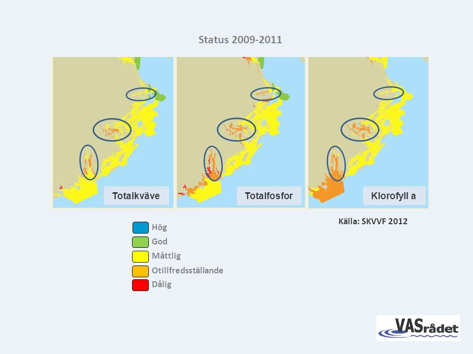 TotalkväveTotalfosforKlorofyll a Källa: SKVVF 2012 Status 2009-2011 God Måttlig Otillfredsställande Dålig Hög