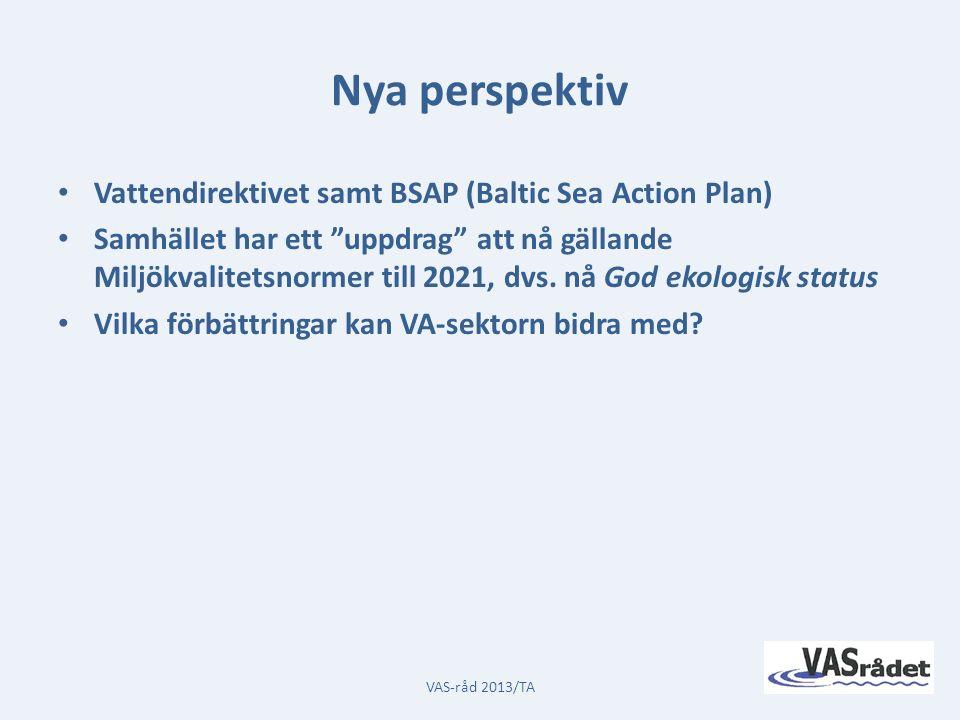 Nya perspektiv Vattendirektivet samt BSAP (Baltic Sea Action Plan) Samhället har ett uppdrag att nå gällande Miljökvalitetsnormer till 2021, dvs.