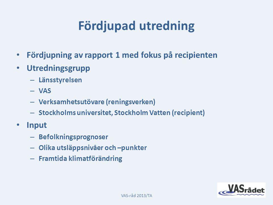 Prognostiserad befolkningstillväxt VAS-råd 2013/TA
