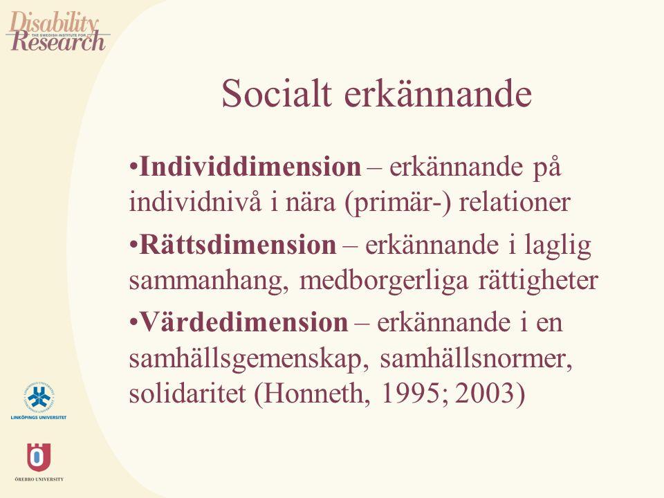 Socialt erkännande Individdimension – erkännande på individnivå i nära (primär-) relationer Rättsdimension – erkännande i laglig sammanhang, medborgerliga rättigheter Värdedimension – erkännande i en samhällsgemenskap, samhällsnormer, solidaritet (Honneth, 1995; 2003)